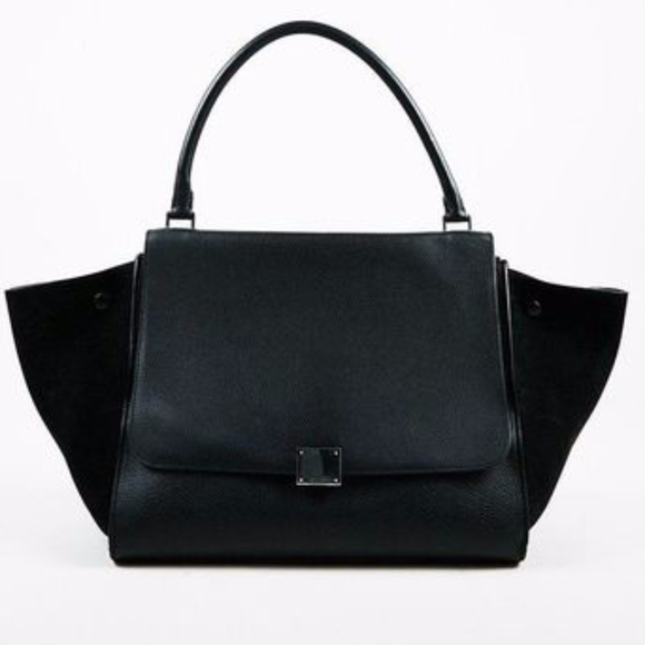 Celine Trapeze Large Leather & Suede Shoul…